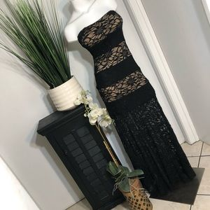 B. Darlin Strapless Black Lace Overlay Maxi Dress